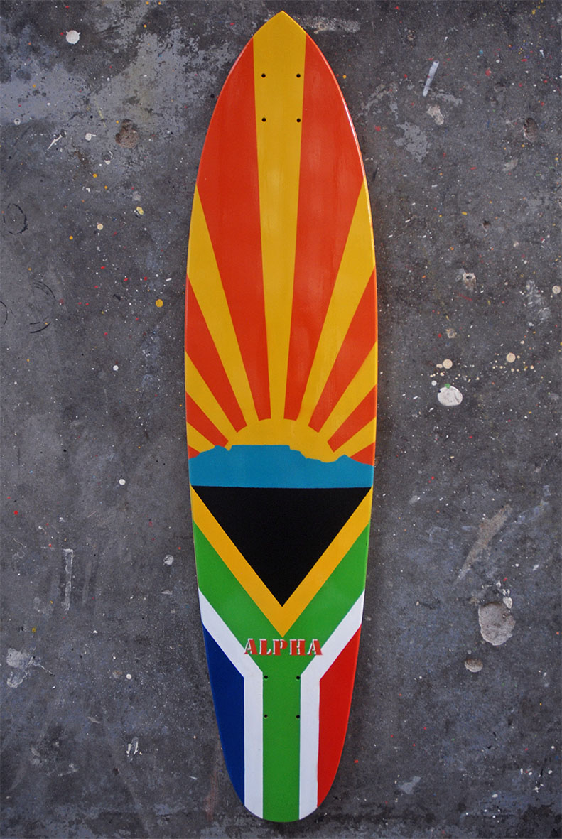 Roundtail Pintail w/South African flag and Table Mountain silhouette sunrise.